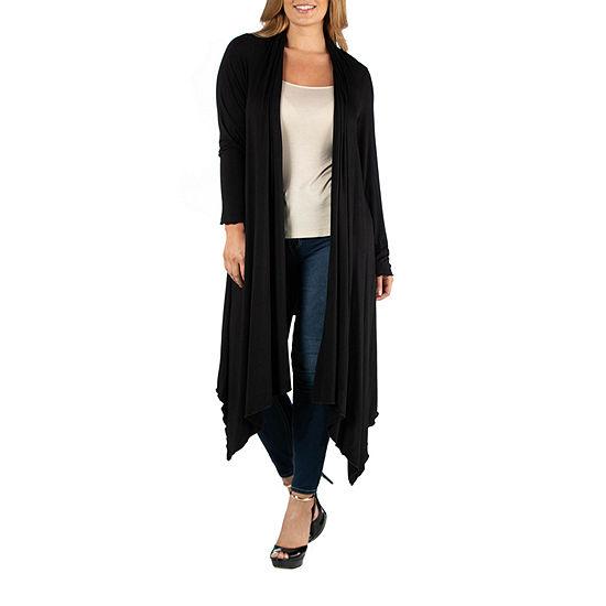 24/7 Comfort Apparel Long Sleeve Knee Length Open Cardigan - Plus