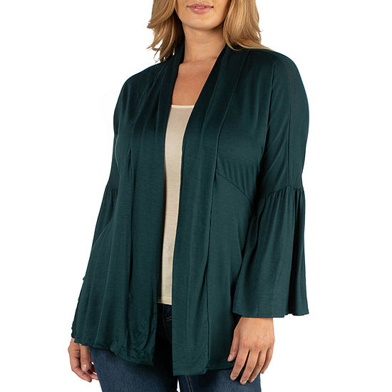 24/7 Comfort Apparel Long Flared Sleeve Open Front Cardigan - Plus