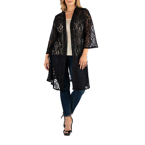 24/7 Comfort Apparel Sheer Lace Open Front Cardigan - Plus