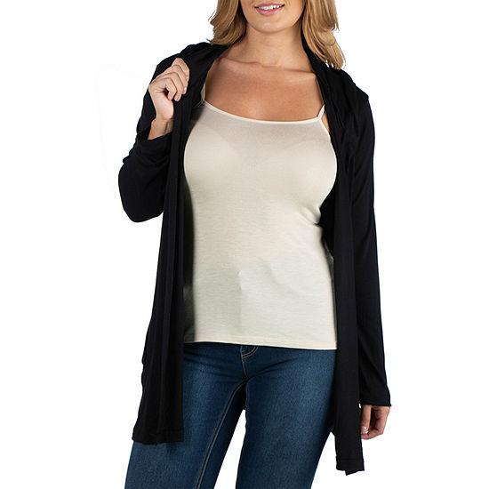 24/7 Comfort Apparel Long Sleeve Hoodie Cardigan - Plus