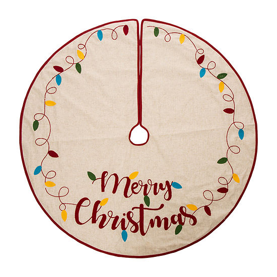 Glitzhome Led Embroidered Linen Merry Christmas Tree Skirt