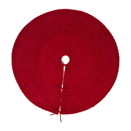 Glitzhome Knitted Polyester Red Tree Skirt