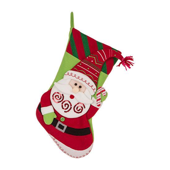 Glitzhome Felt Santa Christmas Stocking