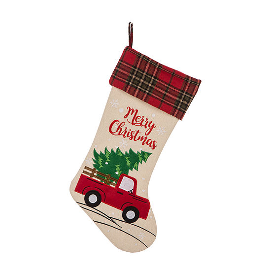Glitzhome Embroidered Linen Red Truck Christmas Stocking
