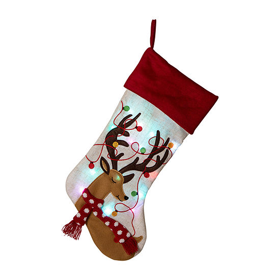 Glitzhome Led Embroidered Linen Reindeer Christmas Stocking