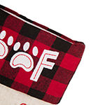 Glitzhome Led Embroidered Linen Dog Christmas Stocking