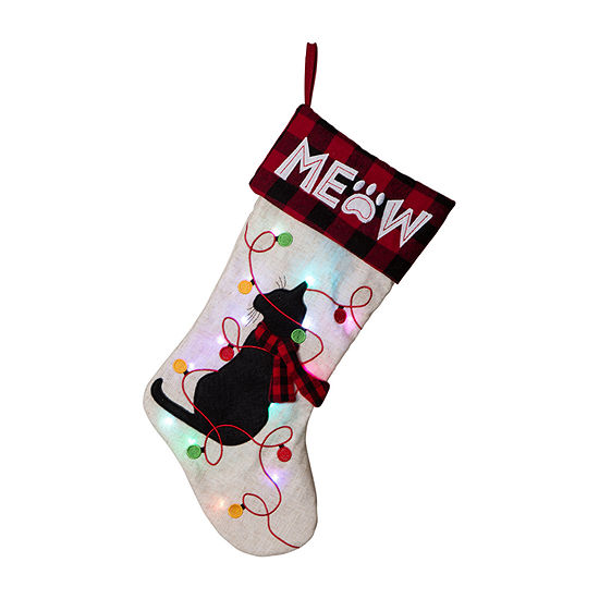 Glitzhome Led Embroidered Linen Cat Christmas Stocking