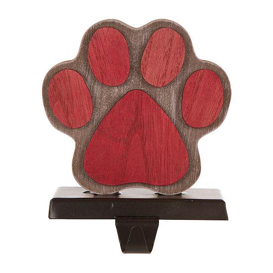 Glitzhome Wooden & Metal Paw Stocking Holder