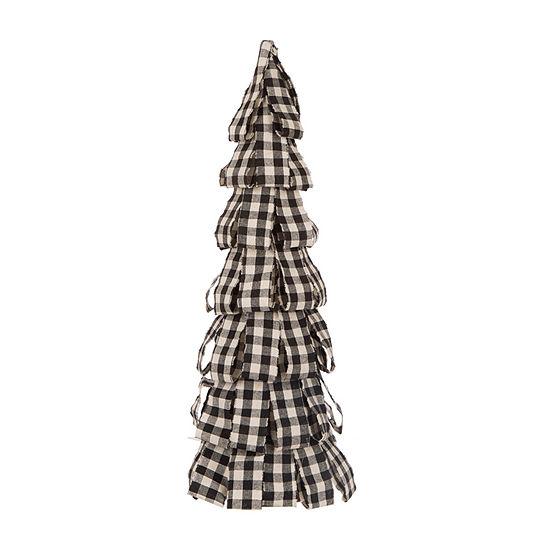 Glitzhome Snowy Day Black & White Plaid Fabric Tree Tabletop Decor