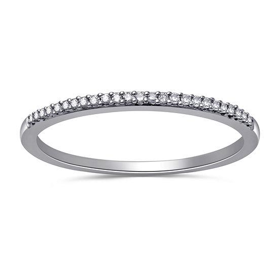 Womens 2MM Diamond Accent Genuine White Diamond Sterling Silver Round Wedding Band