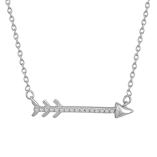 """""""New Beginnings"""" Womens Diamond Accent Genuine White Diamond Sterling Silver Pendant Necklace"""