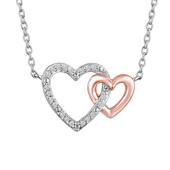"""Love"" Womens Diamond Accent Genuine White Diamond 10K Rose Gold Over Silver Sterling Silver Heart Pendant Necklace"