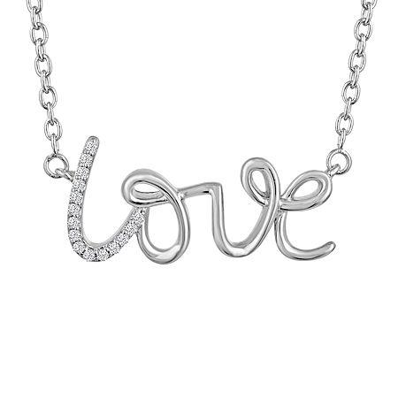 """Love"" Womens Diamond Accent Genuine White Diamond Sterling Silver Pendant Necklace, One Size"