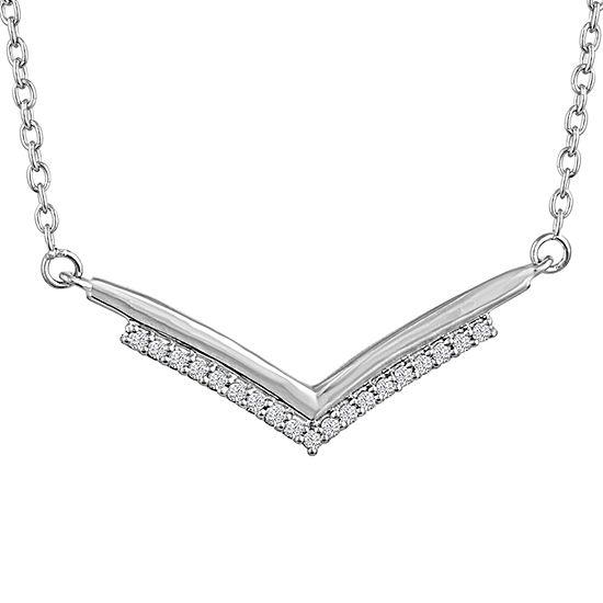"""""""Fashionista"""" Womens Diamond Accent Genuine White Diamond Sterling Silver Pendant Necklace"""