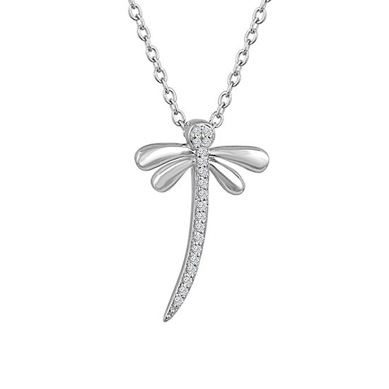 """Believe"" Womens Diamond Accent Genuine White Diamond Sterling Silver Pendant Necklace"
