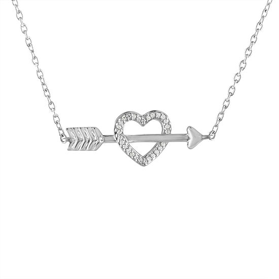 """Follow Your Heart"" Womens Diamond Accent Genuine White Diamond Sterling Silver Heart Pendant Necklace"