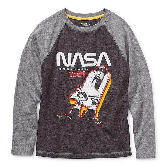 Arizona Little & Big Boys Round Neck Long Sleeve Graphic T-Shirt