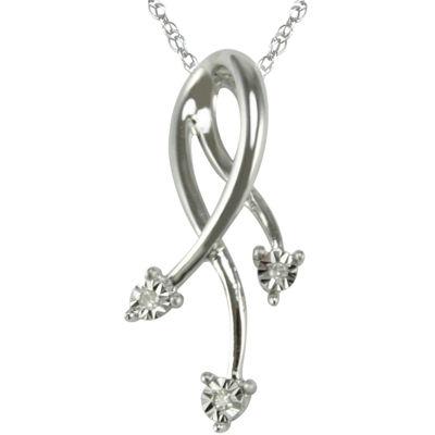 Diamond Accent Dangling Pendant Necklace 10K White Gold