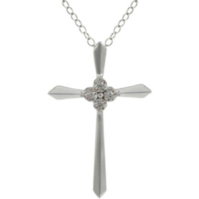 Diamond Accent Cross Pendant Necklace 10K White Gold