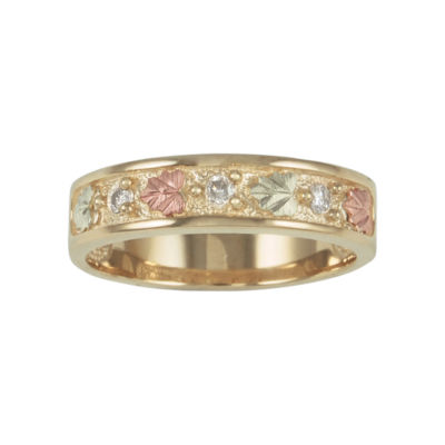 Mens Black Hills Gold Diamond-Accent Wedding Ring