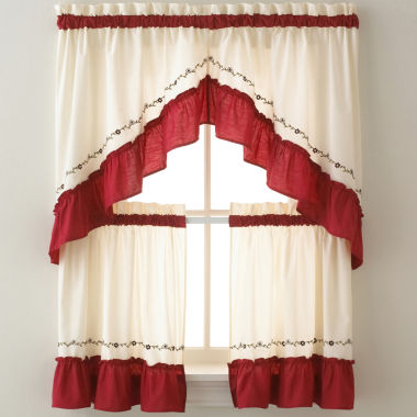Jayden Two Tone Rod Pocket Kitchen Curtains