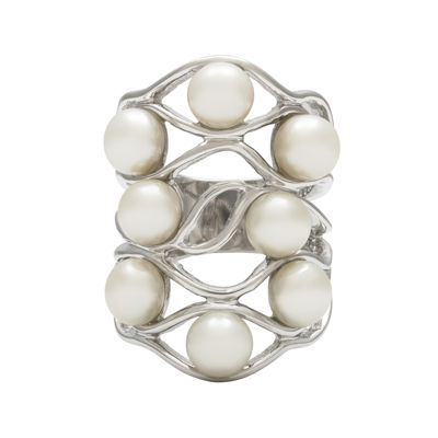Cultured Freshwater Pearl Sterling Silver Multi-Level Ring