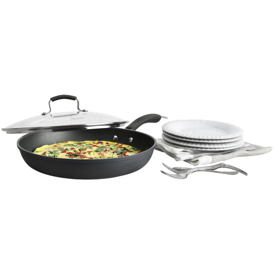 "Epicurious® 13"" Hard-Anodized Fry Pan with Lid"