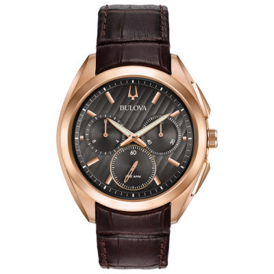 Bulova Curv Mens Brown Strap Watch-97a124