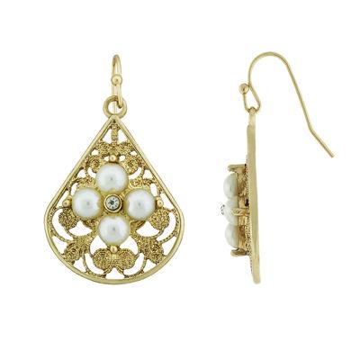 1928 SIMULATED PEARLS Pear Drop Earrings