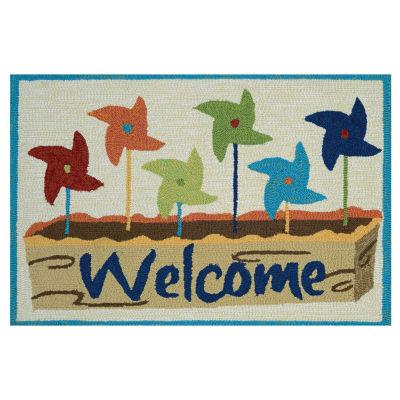 Couristan Welcome Pinwheels Hooked Rectangular Indoor/Outdoor Rugs