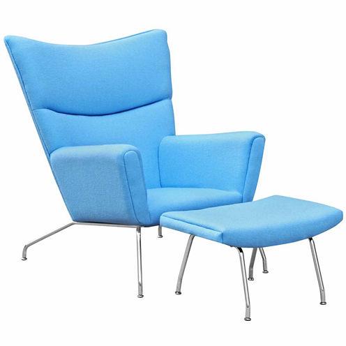 Wing Wool Chair + Ottoman Set