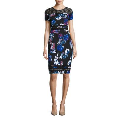 Belle + Sky Short Sleeve Lace Bodycon Dress