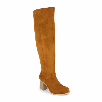 Just Dolce By Mojo Moxy Womens Angie Over the Knee Boots Stacked Heel Pull-on