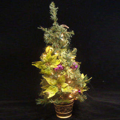 "31"" Lime Green Poinsettia Pre-Lit Decorated Christmas Tree - Clear Lights"""