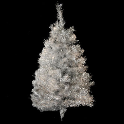 3' Silver Tinsel Artificial Christmas Wall Tree -Unlit