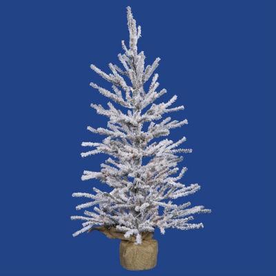 "2' x 14"" Flocked Angel Pine Artificial Christmas Tree in Burlap Base - Unlit"""