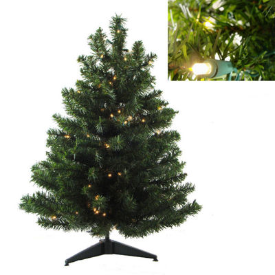 "18"" Pre-Lit LED Natural Two-Tone Pine Artificial Christmas Tree - Clear Lights"""