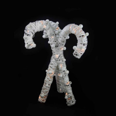"""22"""" Lighted White Cotton String Glittered Candy Cane Christmas Decoration"""""""