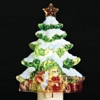 "5.25"" Snowy Christmas Tree with Presents Decorative Christmas Night Light"""