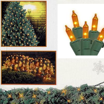 4' x 6' Amber Mini Net Style Christmas Lights - Green Wire