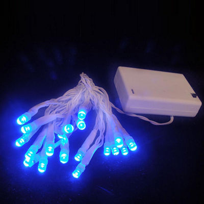 Set of 20 Battery Operated Blue LED Wide Angle Christmas Lights - White Wire