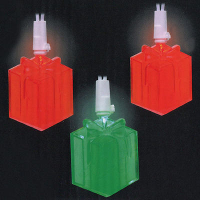 Set of 20 Red and Green LED Present Novelty Christmas Lights - White Wire