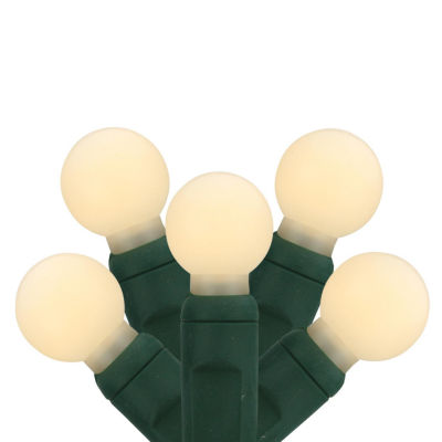 """Set of 35 Warm White LED G12 Berry Commercial Grade Christmas Lights 6"""" Spacing - Green Wire"""""""