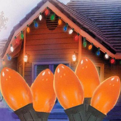 "Set of 25 Opaque Orange C7 Christmas Lights 11.5"" Bulb Spacing - Green Wire"""