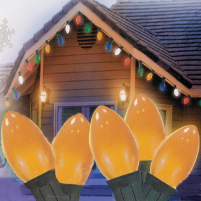 "Set of 25 Opaque Orange C7 Christmas Lights 12"" Bulb Spacing - Green Wire"""
