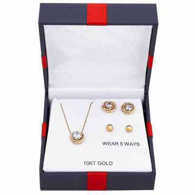Womens 4-pc. Cubic Zirconia 10K Gold Jewelry Set
