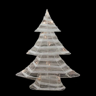 """24.5"""" Battery Operated White and Silver GlitteredLED Lighted Christmas Tree Table Top Decoration"""""""
