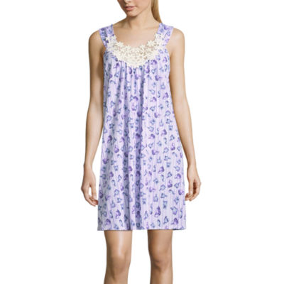 Adonna Jersey Sleeveless Scoop Neck Floral Nightgown