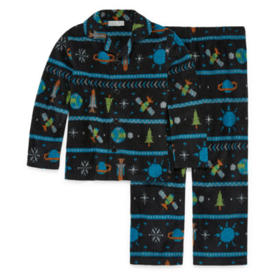 Space Print 2 Piece Coat Front Pajama Set - Boys 4-20