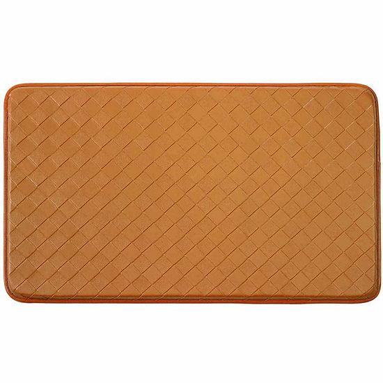 Chef Gear Faux-Leather Diamond Weave Comfort Kitchen Mat
